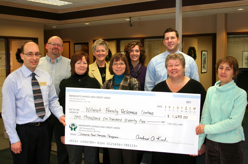 Mennonite credit union gives donation to wilmot family