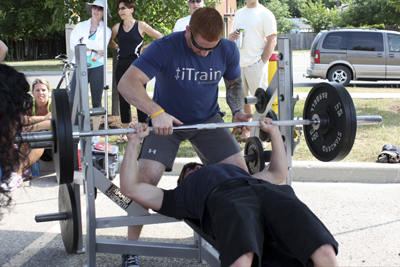 At the bench press challenge.